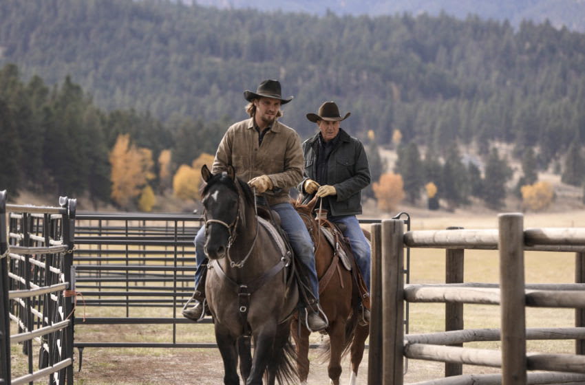 Kayce Dutton (L-Luke Grimes) takes control of Dutton Ranch under the watchful eye of his fatherJohn Dutton (r-Kevin Costner) in Season 2 of