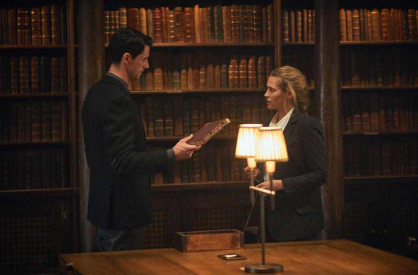 Matthew Goode as Matthew Clairmont and Teresa Palmer as Diana Bishop - A Discovery of Witches _ Season 1 - Photo Credit: Robert Viglasky/SKY Productions/Sundance Now
