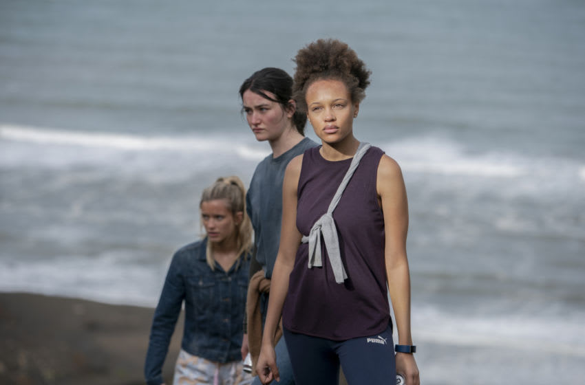 The Wilds. Pictured (L-R): Mia Healy (Shelby Goodkind), Sarah Pidgeon (Leah Rilke), Reign Edwards (Rachel Reid). Credit: Matt Klitscher/Amazon Studios