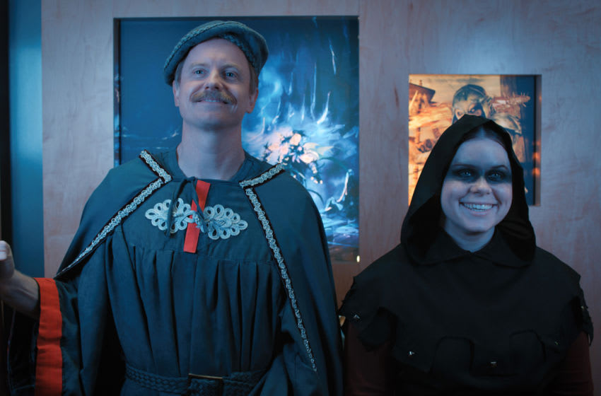 """Jessie Ennis and David Hornsby in """"Everlight,"""" a special episode of Mythic Quest, premiering April 16 on Apple TV+."""
