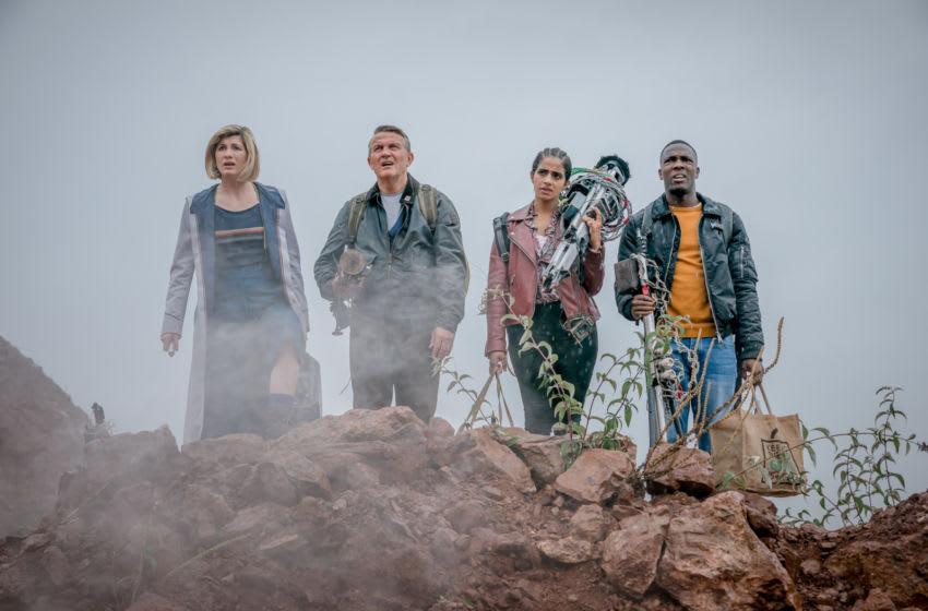 Jodie Whittaker as The Doctor, Bradley Walsh as Graham, Mandip Gill as Yaz, Tosin Cole as Ryan - Doctor Who _ Season 12, Episode 9 - Photo Credit: Ben Blackall/BBC Studios/BBC America