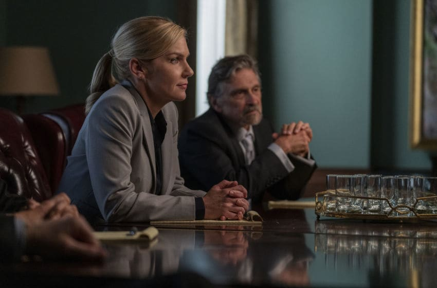 Rhea Seehorn as Kim Wexler, Dennis Boutsikaris as Rich Schweikart - Better Call Saul _ Season 5, Episode 6 - Photo Credit: Greg Lewis/AMC/Sony Pictures Television