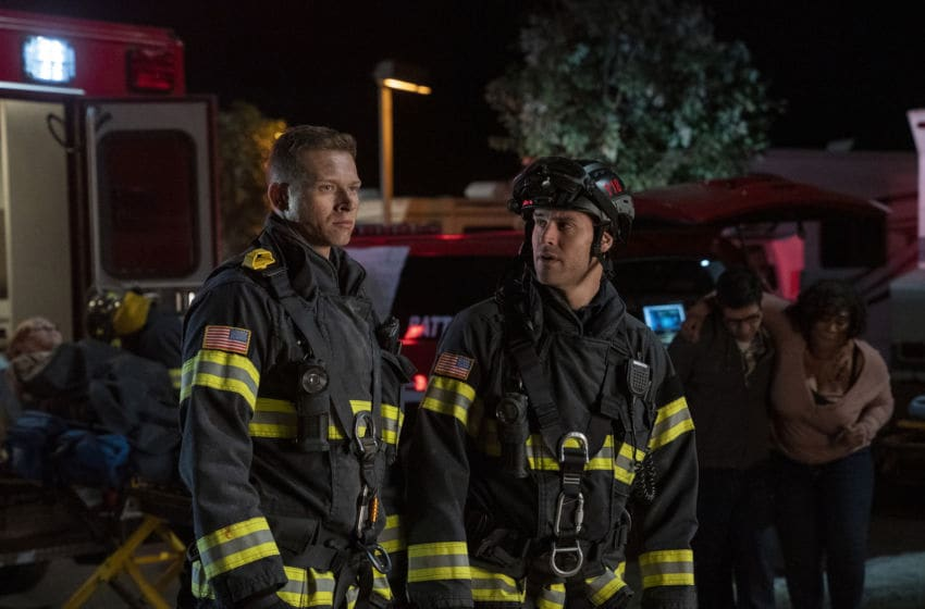 """9-1-1: L-R: Oliver Stark and Ryan Guzman in the """"What's Next"""" season finale episode of 9-1-1 airing Monday, May 11 (8:00-9:01 PM ET/PT) on FOX. CR: Jack Zeman / FOX. © 2020 FOX Media LLC."""