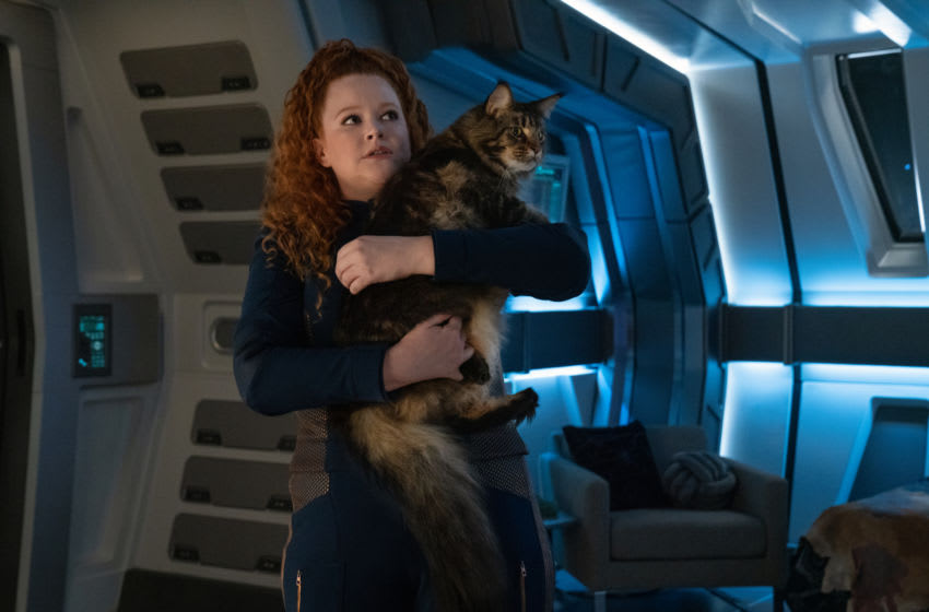 Mary Wiseman as Tilly holding Grudge the cat on Star Trek: Discovery Season 3 Episode 6