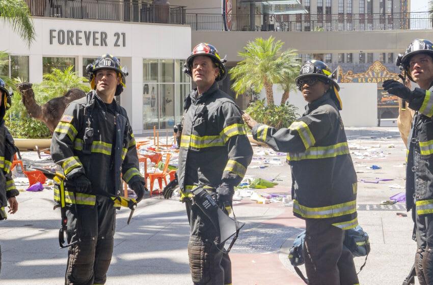 9-1-1: L-R: kenneth Choi, Ryan Guzman, Peter Krause, Aisha Hinds and Oliver Stark in the season premiere of 9-1-1 airing Monday, Sep. 20 (8:00-9:00 PM ET/PT) on FOX. © 2021 FOX MEDIA LLC. CR: Jack Zeman /FOX.