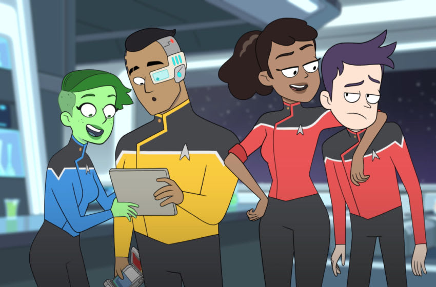 Noël Wells as Ensign Tendi; Eugene Cordero as Ensign Rutherford; Tawny Newsome as Ensign Mariner; Jack Quaid as Ensign Boimler of the CBS All Access series STAR TREK: LOWER DECKS.