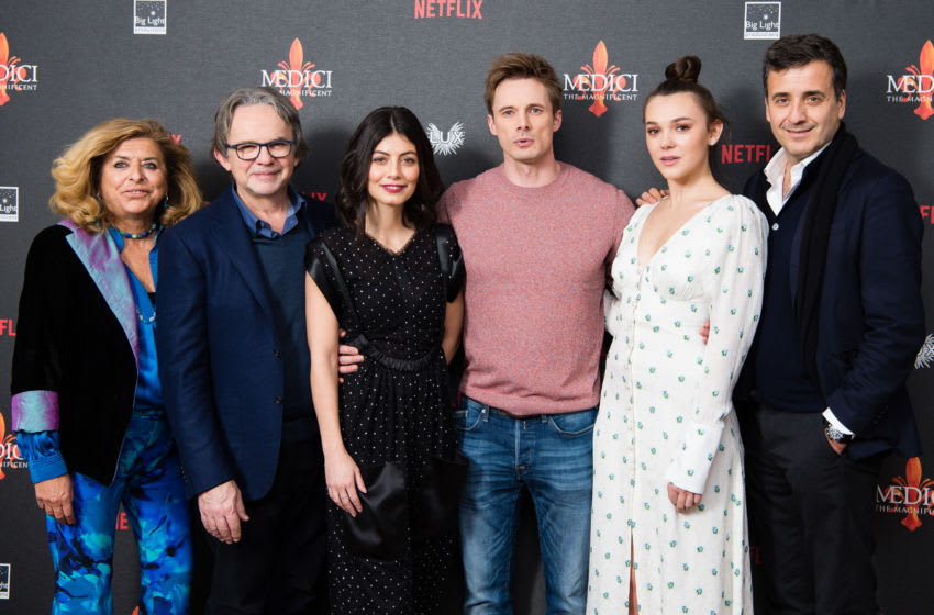 LONDON, ENGLAND - JANUARY 18: (L-R) Matilda Bernabei, executive producer Frank Spotnitz, Alessandra Mastronardi, Bradley James, Synnove Karlsen and executive producer Luca Bernabei attend the premiere of