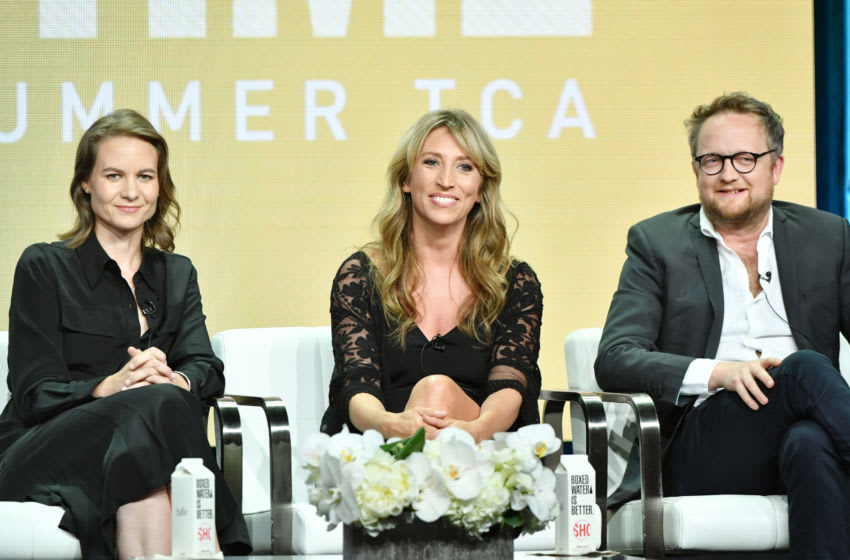 BEVERLY HILLS, CA - AUGUST 02: (L-R) Laura Solon, Daisy Haggard and Harry Williams of Back to Life speak during the Showtime segment of the 2019 Summer TCA Press Tour at The Beverly Hilton Hotel on August 2, 2019 in Beverly Hills, California. (Photo by Amy Sussman/Getty Images)