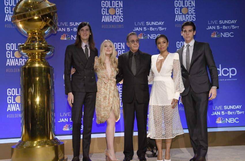 BEVERLY HILLS, CALIFORNIA - DECEMBER 09: (L-R) Dylan Brosnan, Dakota Fanning, Tim Allen, Susan Kelechi Watson and Paris Brosnan attend the 77th Annual Golden Globe Awards Nominations Announcement at The Beverly Hilton Hotel on December 09, 2019 in Beverly Hills, California. (Photo by Kevork Djansezian/Getty Images)