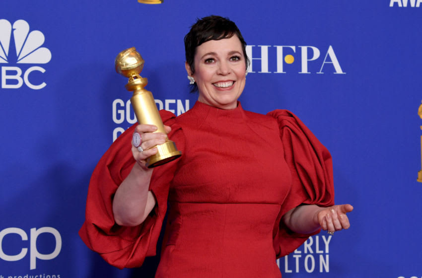 BEVERLY HILLS, CALIFORNIA - JANUARY 05: Olivia Colman poses in the press room with the award for Best Performance by an Actress In A Television Series - Drama for