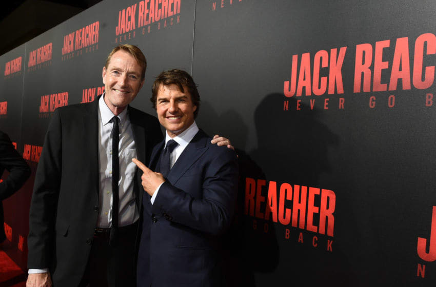 HARAHAN, LA - OCTOBER 16: Writer Lee Child and Tom Cruise attend the fan screening of the Paramount Pictures title