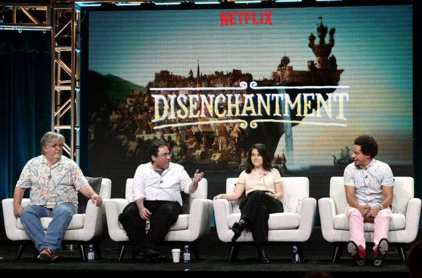 BEVERLY HILLS, CA - JULY 29: Matt Groening, Josh Weinstein, Abbi Jacobson and Eric Andre of 'Disenchantment' speak onstage during Netflix TCA 2018 at The Beverly Hilton Hotel on July 29, 2018 in Beverly Hills, California. (Photo by Matt Winkelmeyer/Getty Images for Netflix)