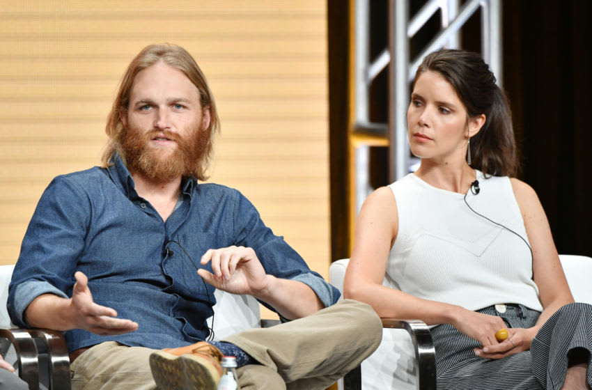 BEVERLY HILLS, CALIFORNIA - JULY 25: Wyatt Russell and Sonya Cassidy of 'Lodge 49' speak during the AMC segment of the Summer 2019 Television Critics Association Press Tour 2019 at The Beverly Hilton Hotel on July 25, 2019 in Beverly Hills, California. (Photo by Amy Sussman/Getty Images)