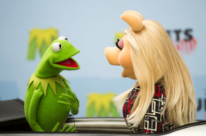 BERLIN, GERMANY - MARCH 28: Kermit and Miss Piggy attend the 'Muppets most wanted' Photocall at Sony Centre on March 28, 2014 in Berlin, Germany. (Photo by Target Presse Agentur Gmbh/Getty Images)