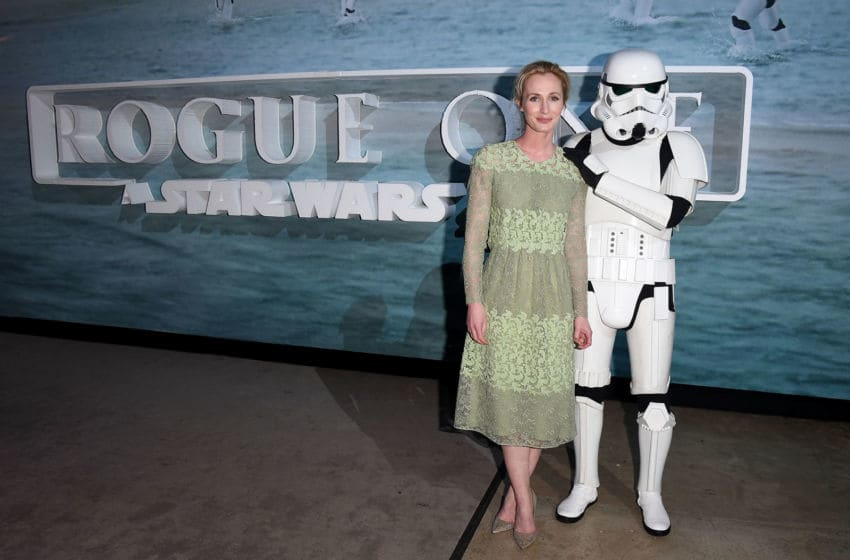LONDON, ENGLAND - DECEMBER 13: Genevieve O'Reilly attends the launch event and reception for Lucasfilm's highly anticipated, first-ever, standalone Star Wars adventure