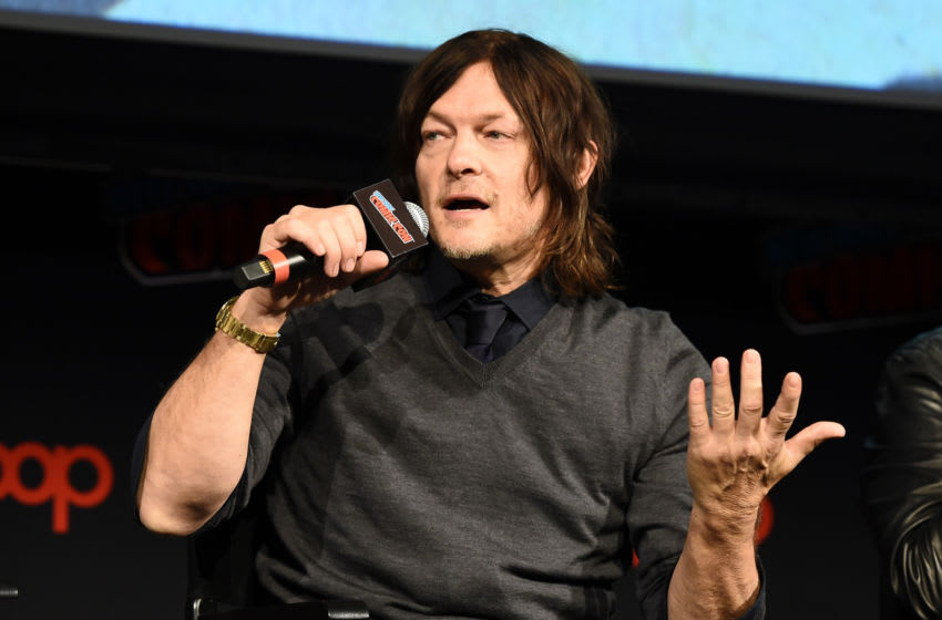 NEW YORK, NEW YORK - OCTOBER 05: Norman Reedus speaks onstage during The Walking Dead Universe, Including AMC's Flagship Series and the Untitled New Third Series Within The Walking Dead Franchise at New York Comic Con 2019 Day 3 at Hulu Theater at Madison Square Garden October 05, 2019 in New York City. (Photo by Ilya S. Savenok/Getty Images for ReedPOP )