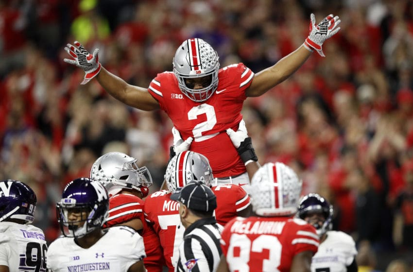 INDIANAPOLIS, INDIANA - DECEMBER 01: Chase Young #2 of the Ohio State Buckeyes celebrates after a defensive play in the game against the Northwestern Wildcats in the first quarter at Lucas Oil Stadium on December 01, 2018 in Indianapolis, Indiana. (Photo by Joe Robbins/Getty Images)