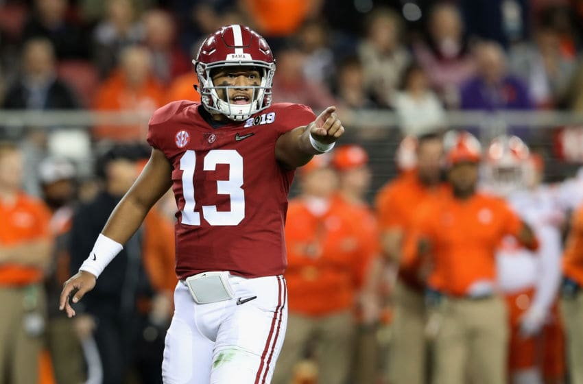 SANTA CLARA, CA - JANUARY 07: Tua Tagovailoa #13 of the Alabama Crimson Tide reacts against the Clemson Tigers in the CFP National Championship presented by AT&T at Levi's Stadium on January 7, 2019 in Santa Clara, California. (Photo by Sean M. Haffey/Getty Images)