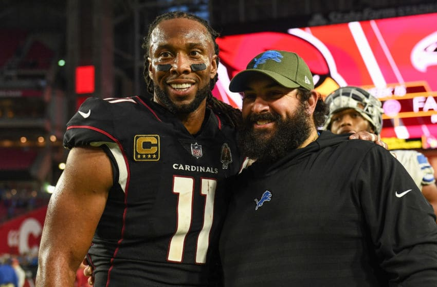 GLENDALE, ARIZONA - DECEMBER 09: Larry Fitzgerald #11 of the Arizona Cardinals poses for a photo with head coach Matt Patricia of the Detroit Lions after the NFL game at State Farm Stadium on December 09, 2018 in Glendale, Arizona. The Detroit Lions won 17-3. (Photo by Jennifer Stewart/Getty Images)
