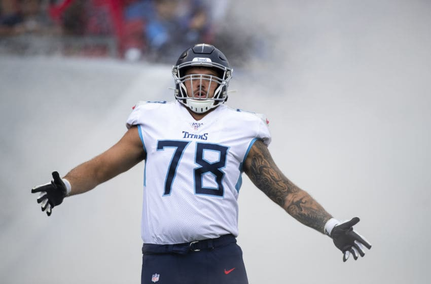 NASHVILLE, TN - OCTOBER 06: Jack Conklin #78 of the Tennessee Titans runs onto the field before the game against the Buffalo Bills at Nissan Stadium on October 6, 2019 in Nashville, Tennessee. Buffalo defeats Tennessee 14-7. (Photo by Brett Carlsen/Getty Images)