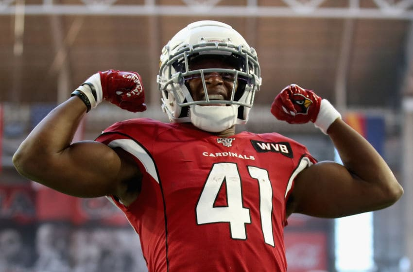 GLENDALE, ARIZONA - DECEMBER 15: Running back Kenyan Drake #41 of the Arizona Cardinals celebrates after scoring on a five yard rushing touchdown against the Cleveland Browns during the first half of the NFL game at State Farm Stadium on December 15, 2019 in Glendale, Arizona. (Photo by Christian Petersen/Getty Images)