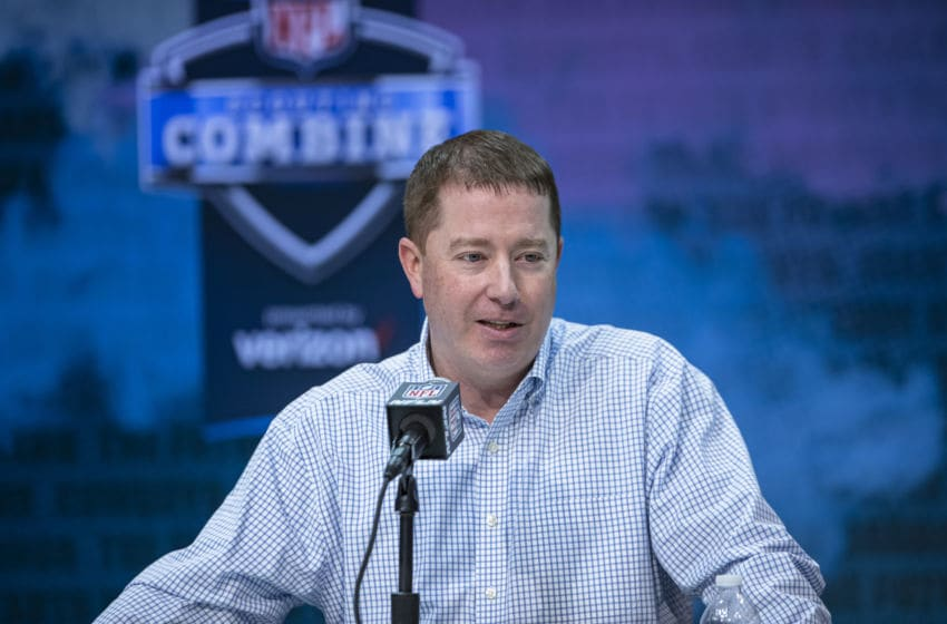 INDIANAPOLIS, IN - FEBRUARY 25: General manager Bob Quinn of the Detroit Lions speaks to the media at the Indiana Convention Center on February 25, 2020 in Indianapolis, Indiana. (Photo by Michael Hickey/Getty Images) *** Local Capture *** Bob Quinn