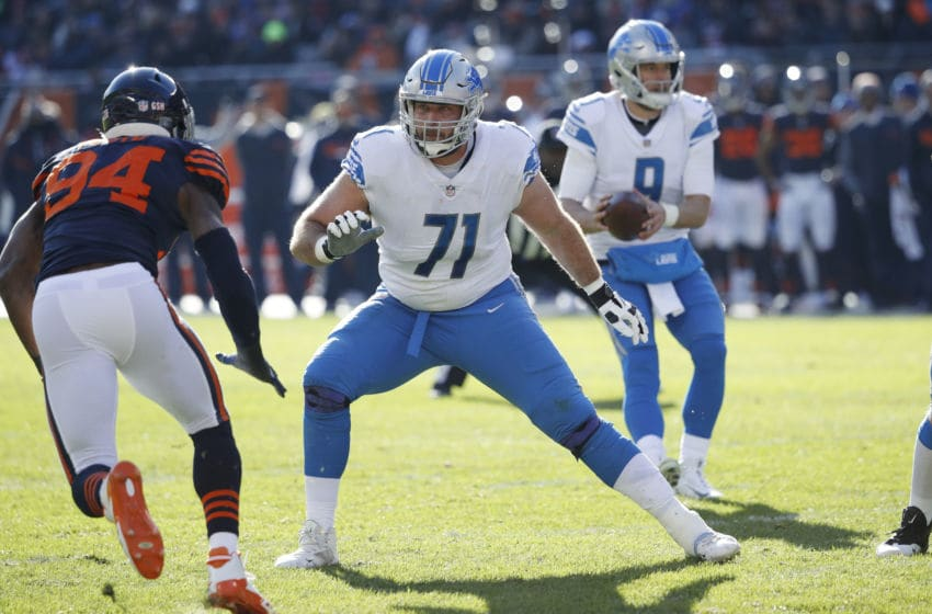 CHICAGO, IL - NOVEMBER 19: Rick Wagner #71 of the Detroit Lions in action during a game against the Chicago Bears at Soldier Field on November 19, 2017 in Chicago, Illinois. The Lions beat the Bears 27-24. (Photo by Joe Robbins/Getty Images)