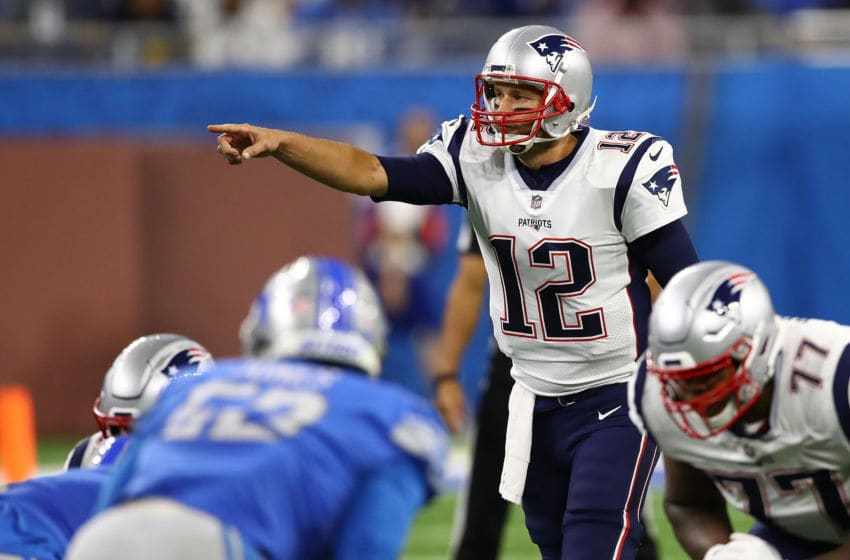 DETROIT, MI - SEPTEMBER 23: Tom Brady #12 of the New England Patriots calls a signal while playing the Detroit Lions at Ford Field on September 23, 2018 in Detroit, Michigan. (Photo by Gregory Shamus/Getty Images)