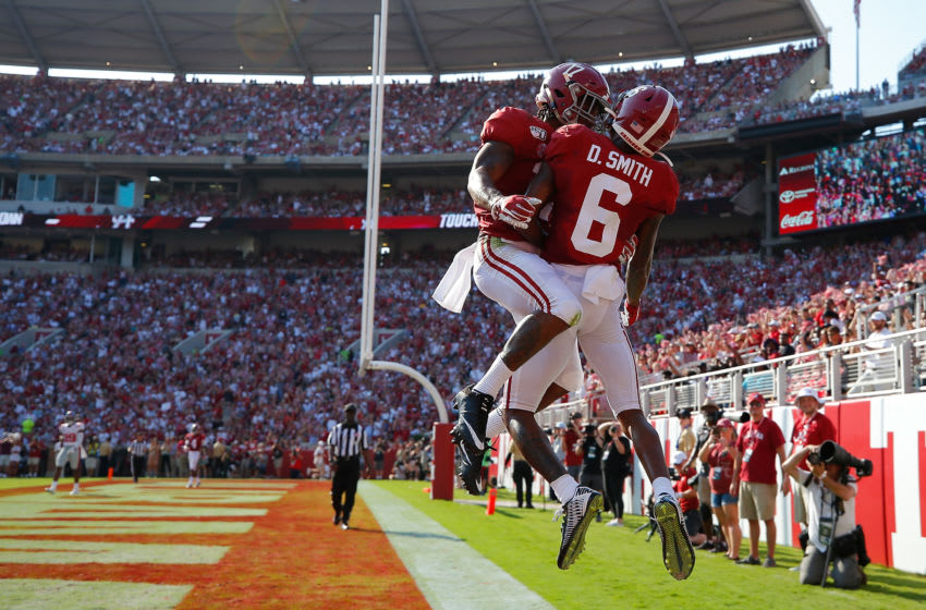 DeVonta Smith #6 of the Alabama Crimson Tide with Jaylen Waddle #17 (Photo by Kevin C. Cox/Getty Images)