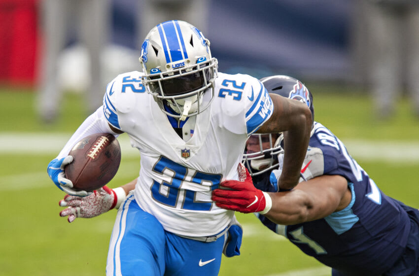 Running back D'Andre Swift #32 of the Detroit Lions (Photo by Wesley Hitt/Getty Images)