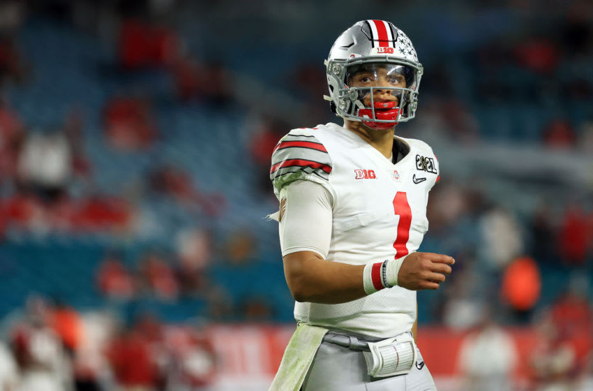 Justin Fields #1 of the Ohio State Buckeyes (Photo by Mike Ehrmann/Getty Images)