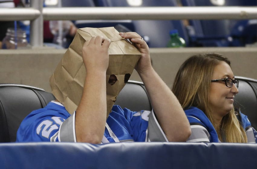 DETROIT, MI - OCTOBER 11: A fan looks on with a bag on his head during a game between the Detroit Lions and the Arizona Cardinals at Ford Field on October 11, 2015 in Detroit, Michigan. (Photo by Gregory Shamus/Getty Images)