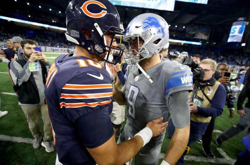 DETROIT, MI - DECEMBER 16: Detroit Lions quarterback Matthew Stafford #9 talks with Chicago Bears quarterback Mitchell Trubisky #10 after the Lions defeated the Bears20-10 at Ford Field on December 16, 2017 in Detroit, Michigan. (Photo by Gregory Shamus/Getty Images)