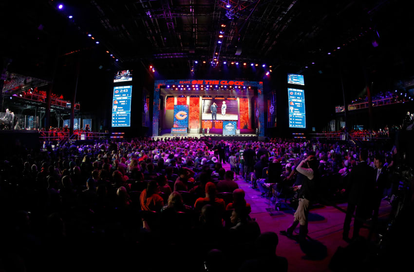 PHILADELPHIA, PA - APRIL 27: A detailed view of the first round of the 2017 NFL Draft at the Philadelphia Museum of Art on April 27, 2017 in Philadelphia, Pennsylvania. (Photo by Jeff Zelevansky/Getty Images)