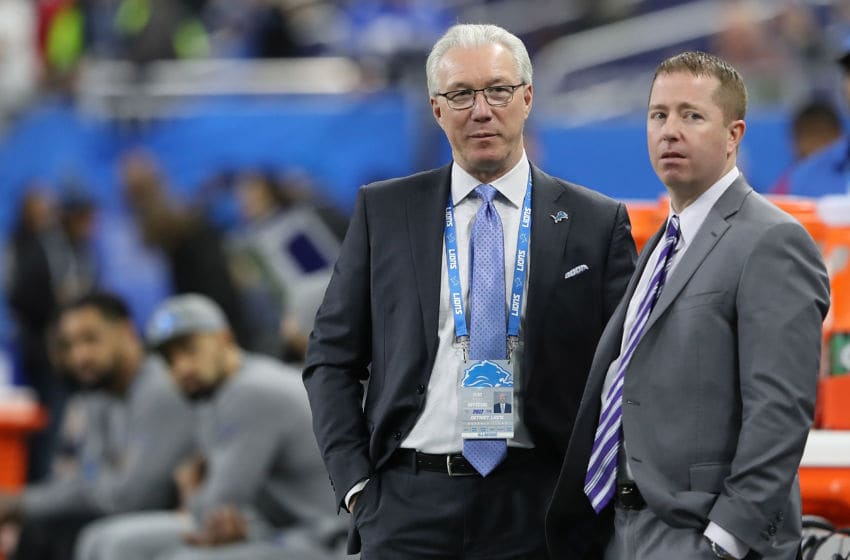 Detroit Lions president Rod Wood, General Manager Bob Quinn (Photo by Leon Halip/Getty Images)