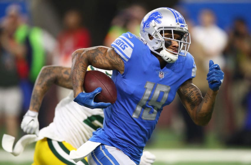 DETROIT, MI - DECEMBER 29: Kenny Golladay #19 of the Detroit Lions runs for a touchdown after catching a pass from Matthew Stafford #9 of the Detroit Lions against the Green Bay Packers during the first half at Little Caesars Arena on December 29, 2017 in Detroit, Michigan. (Photo by Gregory Shamus/Getty Images)