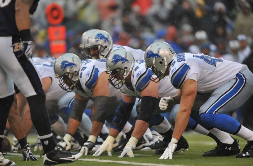 BALTIMORE - DECEMBER 13: The Detroit Lions offensive line prepares for the snap during the game against the Baltimore Ravens at M&T Bank Stadium on December 13, 2009 in Baltimore, Maryland. The Ravens defeated the Lions 48-3. (Photo by Larry French/Getty Images)