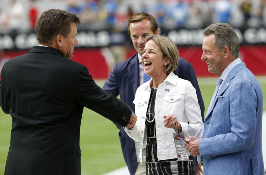 GLENDALE, ARIZONA - SEPTEMBER 08: Sheila Ford Hamp, Vice Chairman of the Detroit Lions and daughter of Lions owner Martha Ford, greets Arizona Cardinals team president Michael Bidwill, left, prior to the NFL football game between the Lions and Cardinals at State Farm Stadium on September 08, 2019 in Glendale, Arizona. (Photo by Ralph Freso/Getty Images)