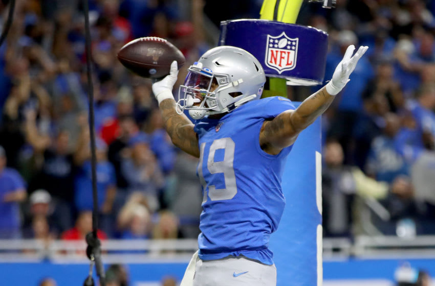 DETROIT, MICHIGAN - SEPTEMBER 29: Kenny Golladay #19 of the Detroit Lions celebrates after scoring a 9 yard touchdown thrown by Matthew Stafford #9 against the Kansas City Chiefs during the third quarter in the game at Ford Field on September 29, 2019 in Detroit, Michigan. (Photo by Gregory Shamus/Getty Images)