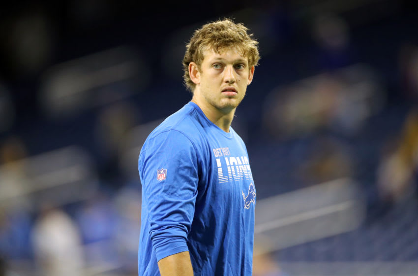 DETROIT, MI - OCTOBER 27: T.J. Hockenson #88 of the Detroit Lions during warm ups prior to the start of the game aganist the New York Giants at Ford Field on October 27, 2019 in Detroit, Michigan. (Photo by Rey Del Rio/Getty Images)