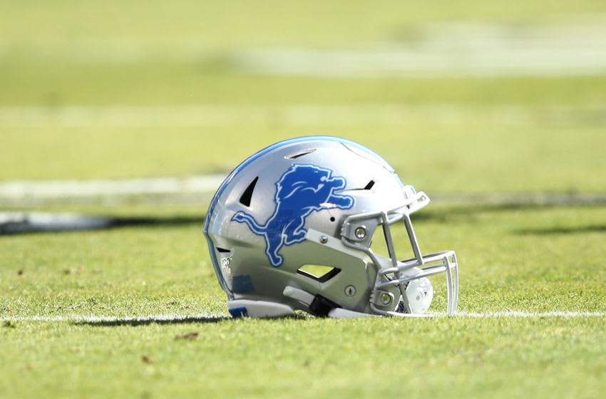 OAKLAND, CALIFORNIA - NOVEMBER 03: A Detroit Lions helmet lies on the field before their game Oakland Raiders at RingCentral Coliseum on November 03, 2019 in Oakland, California. (Photo by Ezra Shaw/Getty Images)