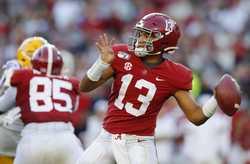 TUSCALOOSA, ALABAMA - NOVEMBER 09: Tua Tagovailoa #13 of the Alabama Crimson Tide throws a pass during the first half against the LSU Tigers in the game at Bryant-Denny Stadium on November 09, 2019 in Tuscaloosa, Alabama. (Photo by Kevin C. Cox/Getty Images)