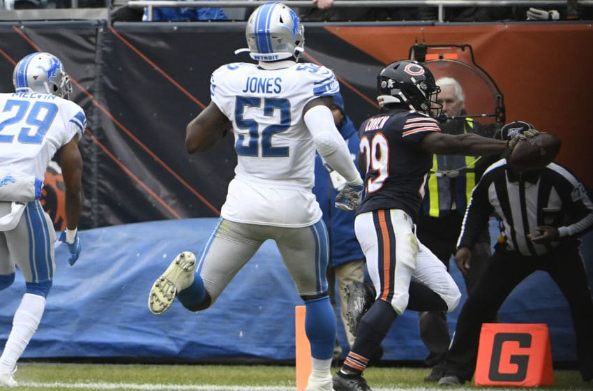 CHICAGO, ILLINOIS - NOVEMBER 10: Tarik Cohen #29 of the Chicago Bears runs for a touchdown against the Detroit Lions during the second half at Soldier Field on November 10, 2019 in Chicago, Illinois. (Photo by David Banks/Getty Images)