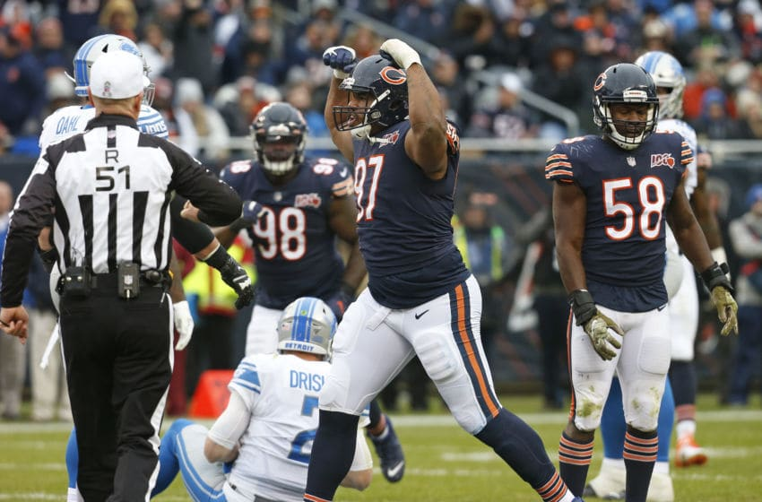 CHICAGO, ILLINOIS - NOVEMBER 10: Nick Williams #97 of the Chicago Bears reacts after sacking Jeff Driskel #2 of the Detroit Lions during the second half at Soldier Field on November 10, 2019 in Chicago, Illinois. (Photo by Nuccio DiNuzzo/Getty Images)
