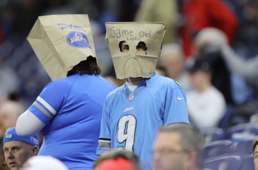 DETROIT, MI - DECEMBER 15: A Detroit Lions fan wears a paper bag while watching the game against the Tampa Bay Buccaneers at Ford Field on December 15, 2019 in Detroit, Michigan. (Photo by Rey Del Rio/Getty Images)