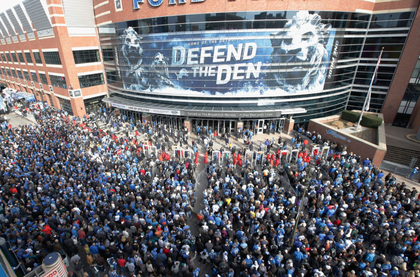Detroit Lions fans wait to enter Ford Field (Photo by Gregory Shamus/Getty Images)