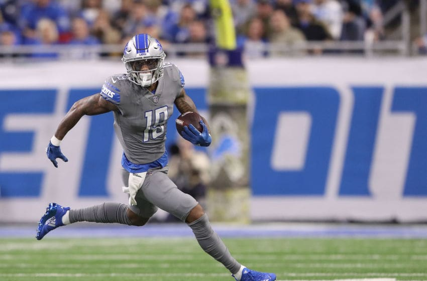 DETROIT, MI - NOVEMBER 18: Kenny Golladay #19 of the Detroit Lions makes the catch and runs for a short gain during the first quarter of the game against the Carolina Panthers at Ford Field on November 18, 2018 in Detroit, Michigan (Photo by Leon Halip/Getty Images)
