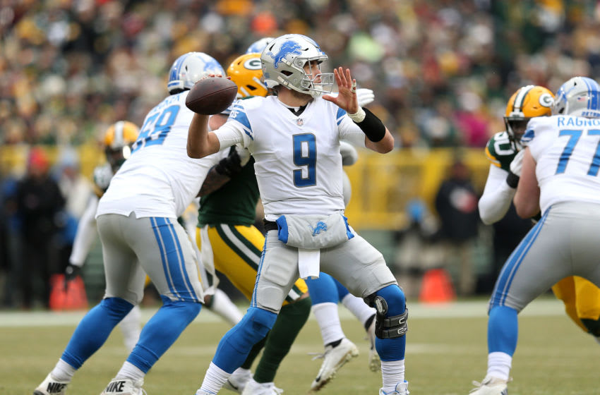 GREEN BAY, WISCONSIN - DECEMBER 30: Matthew Stafford #9 of the Detroit Lions throws a pass during the first half of a game against the Green Bay Packers at Lambeau Field on December 30, 2018 in Green Bay, Wisconsin. (Photo by Dylan Buell/Getty Images)