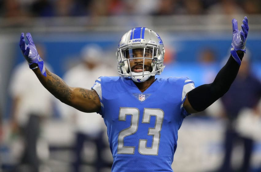 DETROIT, MI - SEPTEMBER 23: Darius Slay #23 of the Detroit Lions reacts while playing the New England Patriots at Ford Field on September 23, 2018 in Detroit, Michigan. (Photo by Gregory Shamus/Getty Images)
