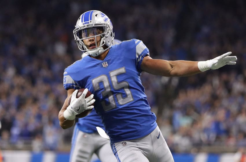 DETROIT, MI - SEPTEMBER 10: Miles Killebrew #35 of the Detroit Lions celebrates a touchdown while playing the Arizona Cardinals at Ford Field on September 10, 2017 in Detroit, Michigan. (Photo by Gregory Shamus/Getty Images)